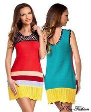 Markenlose mehrfarbige ärmellose Damenkleider mit Rundhals-Ausschnitt