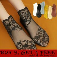 Women Fashion Soft Floral Lace Sock Transparent Elastic Sheer Casual Ankle Socks