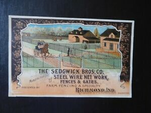 1880's Sedgwick Fences & Gates Victorian Trade Card Richmond Indiana IN