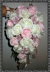 BRIDES TEARDROP BOUQUET ,Wedding Flowers Ivory & Baby Pink roses with diamante