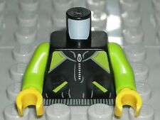 LEGO MINIFIGURE TORSO Black Lime Green Zipper Jacket City Runner 60134