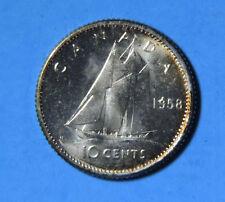 1958 Canada Elizabeth II Silver 10 Cents Coin GEM BU Brilliant Uncirculated