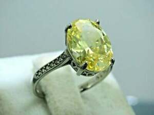 Natural Certified Yellow Sapphire Oval Cut Gemstone Wedding Ring Gift For Her