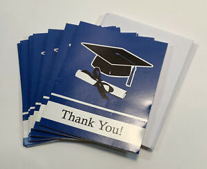Set of 11 Blue Blank Graduation Thank You Cards With Envelopes