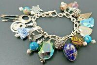 """Vintage Sterling Silver Charm Loaded Bracelet 7"""""""