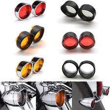 2PCS Motorcycle Turn Signal Light Visor Ring Lens Cover For Harley Bob FXSTSB