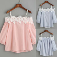 Women Off Shoulder Lace Chiffon T-Shirt Summer Casual Loose Top Blouse~
