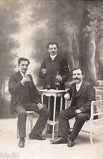 BL397 Carte Photo vintage card RPPC Homme table alcool terrasse décor studio