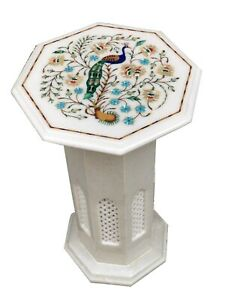 """12"""" White Marble Coffee Table Top With 18"""" Stand Lapis Peacock Inlay Decors W075"""