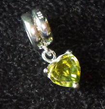 925 SILVER DANGLE CRYSTAL AUGUST PERIDOT GREEN OLIVE HEART EUROPEAN BEAD CHARM