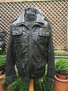Original Superdry BRAD brown leather zip jacket men's XL