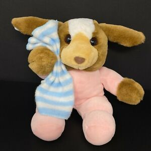 Commonwealth Plush Brown Dog Pink PJ Holding Blue White Stripe Blanket Bunny Vtg