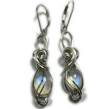 Moonstone Earrings 925 Sterling Silver - Rainbow for Women - Men Jewelry 8S2-7 Z