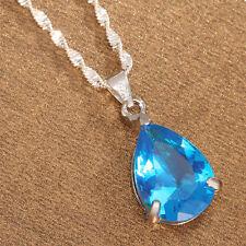 Women Fashion 925 Silver Sky Blue Topaz Pendant Necklace Chain Jewelry
