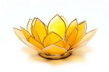 Handmade Capiz Shell Lotus Tealight Holder-Yellow with Silver Trimming