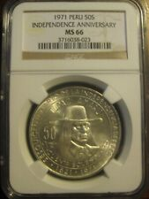 """PERU 1971 50 SOL NGC MS 66! 150th """"ANNIVERSARY OF INDEPENDENCE"""""""