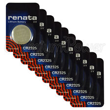 10 x Renata CR2325 batteries Lithium 3V BR2325 CR 2325 Coin cell Watch EXP:2023