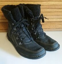 Clarks Bendables Black Leather Lace Up Zip Ankle Boots Womens 6.5 M Fall Must!