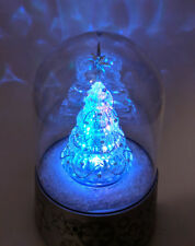 """Musical Christmas Tree in Dome 7"""" Acrylic LED Lighted Lights Up Spins Holiday"""