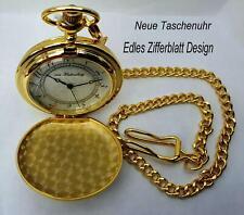 """Neue Taschenuhr mit Kette """"von Hattenberg"""" """"Wappen"""" goldfarben Arabische Ziffern"""