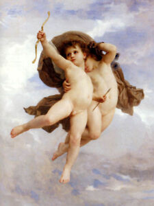 ANGELS CUPID AND PSYCHE PAINTING BY WILLIAM BOUGUEREAU ON CANVAS REPRO