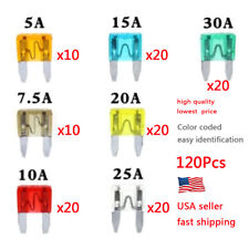 120 pc MINI Blade Fuse Assortment Auto Car Motorcycle SUV FUSES Kit APM ATM US