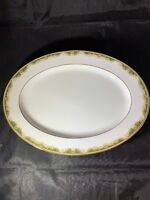 "Noritake China Platter Warrington 6872 Japan 13 1/2"" EUC White,Green Gold Trim"