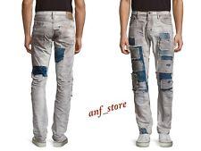 NWT PRPS Goods JAPAN Demon Slim Straight Men Jeans 36 x 32 Grey Patchwork $425