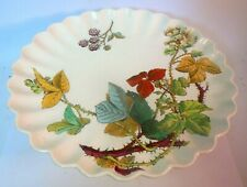Antique Aesthetic Victorian CAKE Pedestal STAND PLATE BOTANICAL Berries Fluted