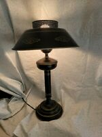 Vintage Toleware Table Lamp. Metal Shade Black And Gold, Nice Condition