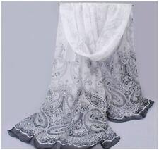 destockage foulard écharpe neuf 100% mousseline de soie cachemire blanc noir