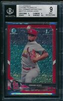 BGS 9 w/10 JORDAN HICKS 1st 2018 Bowman Chrome RED SHIMMER REFRACTOR #/5 RC MINT