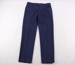 Phineas Cole Mens 34x30 Paul Stuart Casual Dress Pants Chinos Blue Cotton Italy