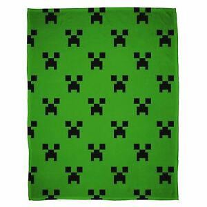 Official Minecraft Emerald Fleece Blanket Bed Throw Creeper Faces Gamer Gift