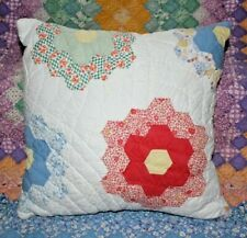 Throw Pillow From Vintage Grandmother's Flower Garden Farmhouse Feedsack Quilt