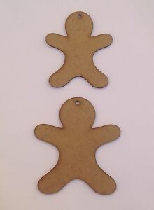 Ginger bread man with holes,10 x Wooden craft shapes.