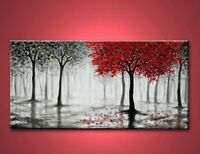 CULOP102 100% hand-painted abstract forest tree art oil painting on canvas