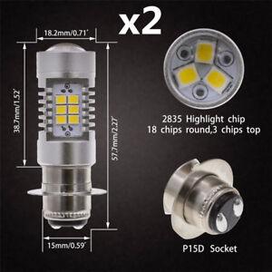 Pair P15D H6M Motorcycle Headlight DRL LED Fog Light Bulbs 6000K Xenon White 12V
