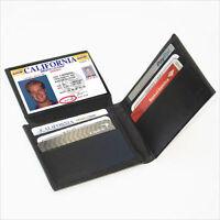 Black Men's Genuine Leather Plain Window ID Bifold Wallet Flap Top Front Pocket