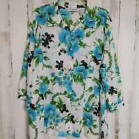Sag Harbor Women's Size 2X Button Up Shirt Floral Lightweight 3/4 Sleeves