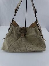 G by Guess Tan Sophisticated Faux Leather and Fabric Purse Bag Handbag