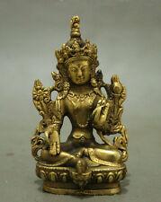 Folk Tibet Brass Buddhism Lotus Green Tara Bodhisattva Kwan-Yin Buddha Statue