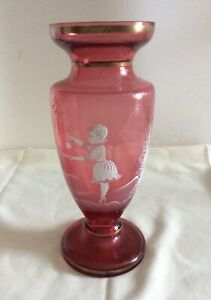 Antique Victorian Mary Gregory Cranberry Vase with Gold Trim 10.5 inches tall
