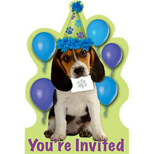 PUPPY PARTY INVITATION SET (8) ~ Birthday Supplies Stationary Invites Cards