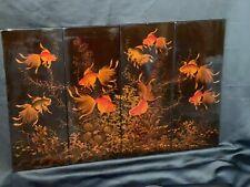 More details for vietnamese lacquer goldfish 4 x panels