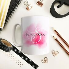 Watercolour monogram Pink Personalised Ceramic Mug, gift for women, name on mug