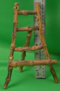 Vintage Chinoiserie Burnt Bamboo Display Easel Stand for Art Photos Cards