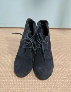 Aldo Sz 37 Suede Laced Ankle Boots NAVY BLUE