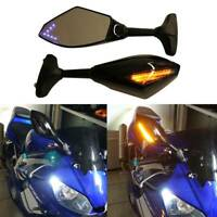 For Yamaha YZF R1 R3 R6 R6S 600 FZ R600 1000 Motorcycle Mirrors LED Turn Signals