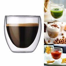 1pc 80ML Double Wall Transparent Coffee Glass Mug Cups Insulate Office Tea Mug